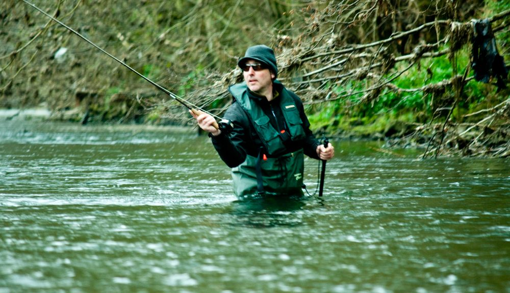fly fisherman czech nymphing in a river
